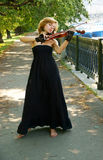 Young woman playing the violin royalty free stock photo