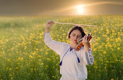 Young woman playing violin in a field at sunset Royalty Free Stock Image