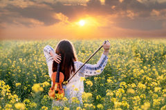 Young woman playing violin in a field at sunset Royalty Free Stock Photo
