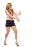Young Woman Playing Volleyball Royalty Free Stock Photo