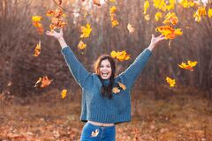Free Young Woman Playing With Autumn Leaves In Park. Autumn Rain Royalty Free Stock Photography - 196685277