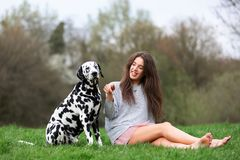 Young woman plays with an Dalmatian dog outdoors. Beautiful young woman plays with an Dalmatian dog outdoors Stock Photography