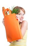 Young woman plays hide-and-seek Royalty Free Stock Photos
