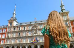 Young woman in Plaza Mayor square, Madrid, Spain stock photography