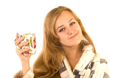Young woman in a plush bathrobe Stock Photography