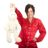Young woman with plush rabbit Stock Image