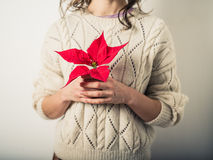 Young woman with poinsettia Royalty Free Stock Photos