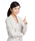 Young woman point to front Stock Image