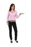 Young woman is pointing. Stock Photo