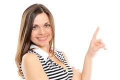 Young Woman Pointing At Copy Space Stock Images