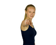 Young woman is pointing into the camera Royalty Free Stock Image