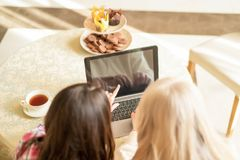 Young woman pointing on empty screen of laptop to the senior lady. Back View Of Brunette Woman Pointing At Black Screen Of A Laptop To A Senior Mother. Pointing royalty free stock photo