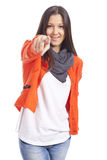 Young woman pointing finger Stock Image