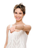Young woman pointing finger Royalty Free Stock Image