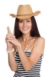 Young woman pointing fingers hands up Royalty Free Stock Image