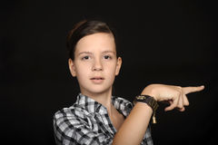 Young woman pointing with hand Stock Photography