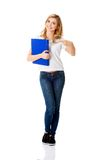 Young woman pointing on her binder Stock Image