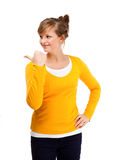 Young woman pointing her finger Royalty Free Stock Photo