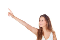 Young woman pointing with her finger up Royalty Free Stock Image