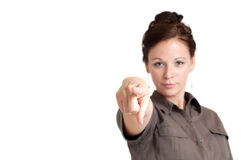 Young woman pointing her index finger Stock Image