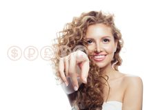 Young Woman Pointing On Euro Currency Isolated On White Stock Image