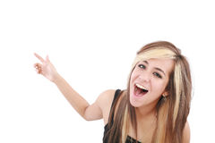 Young woman pointing at something Royalty Free Stock Photos