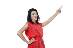 Young woman pointing at something Royalty Free Stock Photo