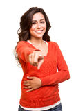 Young woman pointing to the front Stock Photography