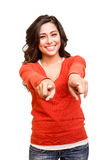 Young woman pointing to the front Royalty Free Stock Photography