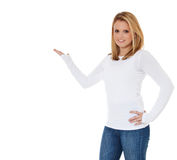 Young woman pointing to the side Stock Image