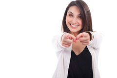 Young woman pointing to somewhere Stock Image