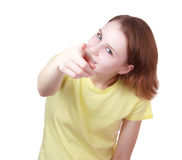 Young woman   pointing to viewer Royalty Free Stock Photo
