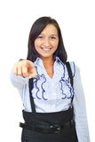 Young woman pointing to you Stock Images