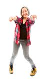 Young woman pointing towards camera with both Stock Photography