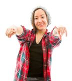 Young woman pointing towards camera with both hands Royalty Free Stock Photography