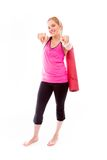 Young woman pointing towards camera with both hands Royalty Free Stock Images