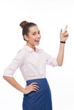 Young woman pointing up Royalty Free Stock Photography