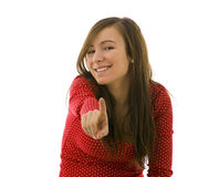 Young woman pointing you Stock Images