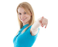 Young woman pointing you Royalty Free Stock Photography