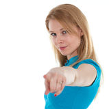 Young woman pointing you Stock Image
