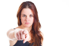 Young woman pointing at you Stock Photography