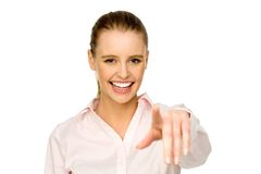 Young woman pointing at you Royalty Free Stock Photos