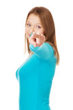 Young woman pointing on you Royalty Free Stock Images