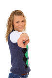 Young woman points with finger Stock Image