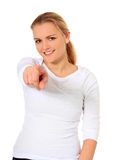 Young woman points with finger Stock Photography