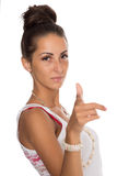 Young woman points finger at you Royalty Free Stock Image