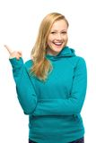 Young woman poiting Royalty Free Stock Image