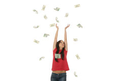 Young woman in polish money rain Stock Photo