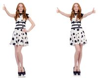 The young woman in polka dot dress isolated on white stock photo