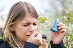 Young woman with pollen allergy problems Stock Photography